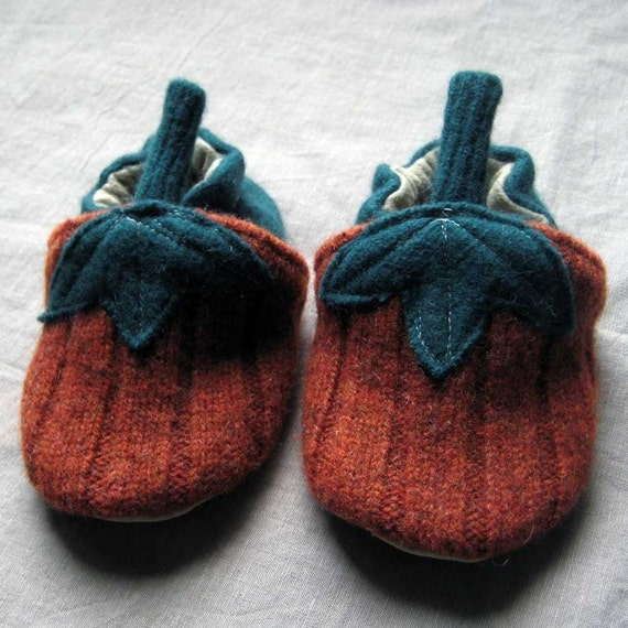 Pick Your Pumpkin Custom Size Wool Baby Kids Slippers made from recycled materials