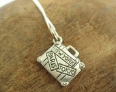 Suitcase Charm Necklace with Sterling Silver Chain