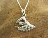 Pewter Swimmer Charm with Sterling Silver Chain