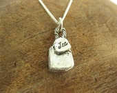 Tea Bag Charm Necklace with Sterling Silver Chain