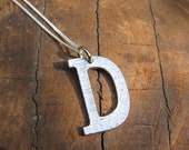 Large Letter D Alphabet Charm Necklace with Sterling Silver Chain