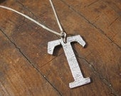 Large Letter T Alphabet Charm Necklace with Sterling Silver Chain