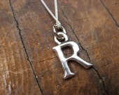 Small Letter R Alphabet Charm Necklace with Sterling Silver Chain