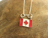 Canadian Flag Charm Necklace with Sterling Silver Chain