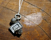 Basketball Hoop Necklace with Sterling Silver Chain