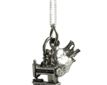 I Heart Sewing Sterling Silver and Pewter Charm Necklace-Anatomical Heart and Sewing Machine Charms
