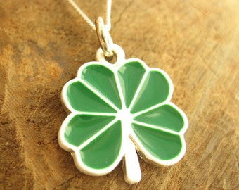 Green Clover Charm Necklace with Sterling Silver Chain