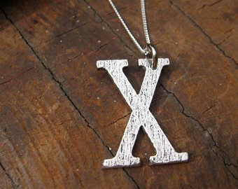 Large Letter X Alphabet Charm Necklace with Sterling Silver Chain