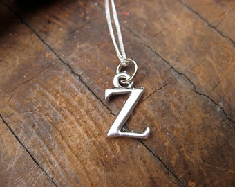 Small Letter Z Alphabet Charm Necklace with Sterling Silver Chain