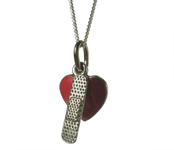 Bandaged Red Heart Valentines Charm Necklace