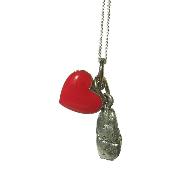 Breathe Love Lung and Red Heart Charm Necklace