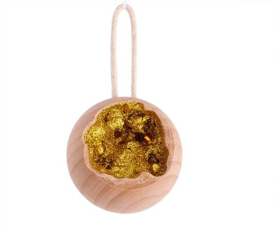 Wood and Gold Geode Ornament
