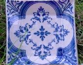 TRINKET TRAY with Royal Blue Filigree Damask Pattern