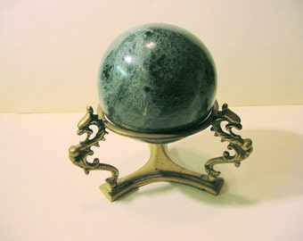 Vintage Marble Ball large green, with Brass Dragon motif Stand | strega Wicca BoHo gypsy, witchy castle goth decor
