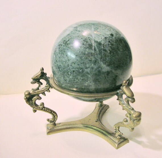 Green Marble Ball : Items similar to vintage large green marble ball with