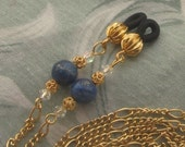 Lapis Lazuli and Swarovski Crystal Eyeglass Sunglass Holder Lanyard Chain in Gold Plate