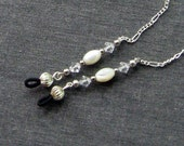 Eyeglass Chain Mother of Pearl and Swarovski Clear Crystal Silvertone Sunglass Holder Necklace