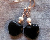 Black Onyx Hearts and Pearl Earrings in Gold Fill RESERVED