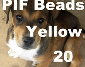 PIF -- Bright Yellow Daffodil Plastic Fiber Optic-ish mostly round beads (20) no cost