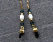 Eyeglass Sunglass Chain Necklace Holder Mother of Pearl and Swarovski Dark Blue Crystals in Goldplate