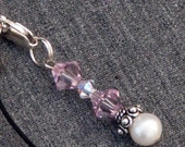 Light Amethyst Swarovski Crystal with Freshwater Pearl Handmade Sterling Silver Cell Charm Pendant Zipper Pull Bling