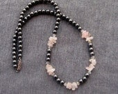Pink Rose Quartz and Black Gray Hematite Choker Silver Teen Student