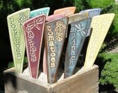 Veggie Garden Stakes / Plant Markers - A set of 3 vegetable pottery garden markers