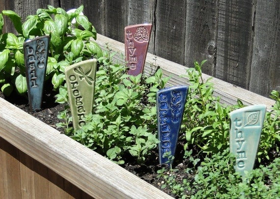 3 Herb Plant Markers   Herb Garden Stakes   A Set Of 3 Pottery Garden  Markers   READY TO SHIP