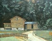 smoky mountain painting, original art on canvas, landscape, 11 X 14, Blue Ridge, Foust