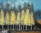 Original Landscape Painting on Canvas modern art by Gene Foust 11 X 14 Aspens