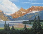 Mountain painting, Lake, mountain landscape, rocky mountains, western painting, by foust, 16 X 20,