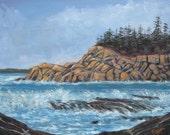 original painting on canvas,seascape on canvas, Acadia, Seascape, 16 X 20, Original Painting by Foust