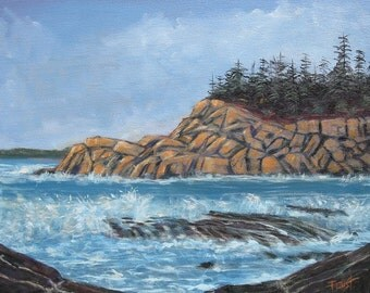 original painting on canvas,seascape on canvas, Acadia, Seascape, 16 X 20, Original Painting by Foust