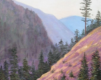Blue Ridge Mountains, Original Painting, Purple, 18 X 24, Art on canvas, Smoky mountains, Foust