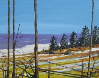 Winter Landscape, painting on Canvas, by Gene Foust 11 X 14, Landscape With Snow.