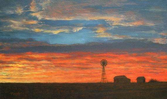 Sunset on the Plains, Giclee Print