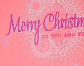 Christmas Cards -- Merry Christmas lens flare on pink -- Set of 6 Hand-printed cards