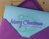 Set of 6 Hand-printed Christmas Cards -- Merry Christmas lens flare on pale aqua