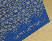 Set of 6 Hand-printed Holiday Cards -- royal blue with gold snowflake pattern