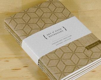 Set of 4 Gold Mini Notebooks