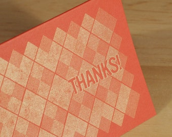 Set of 6 Hand-printed Gold Argyle Thank You Cards