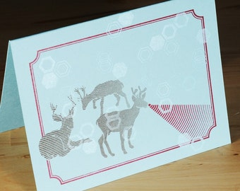 Set of 6 Hand-printed Holiday Cards -- Death Ray Rudolph on blue