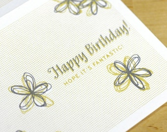 Happy Birthday Card -- Hand-printed