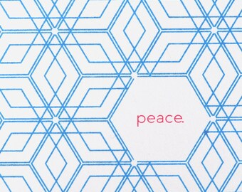 Holiday Cards -- Peace -- Set of 6 Hand-printed cards