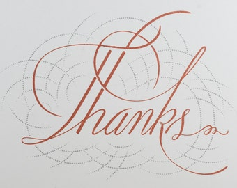 Thank You card -- Hand-printed calligraphic greeting card