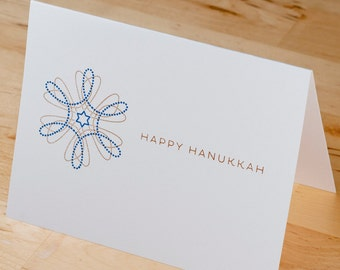 Hanukkah Cards -- Set of 6 hand-printed gold on white cards