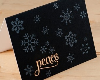 Holiday Cards -- Snowflakes Peace lasercut  -- Hand-printed Card