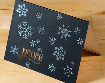 Holiday Cards -- Snowflakes Peace lasercut  -- Set of 6 Hand-printed Cards