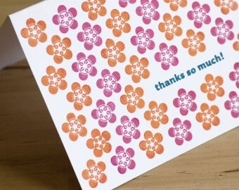 Set of 6 Hand-printed Thank You Cards -- Plum Blossoms on white