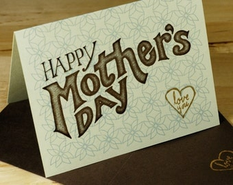 Hand-printed Mother's Day Card--Green Typography